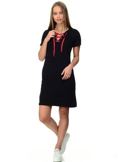 Limon Company Yakası Bağcıklı Kısa Elbise Siyah